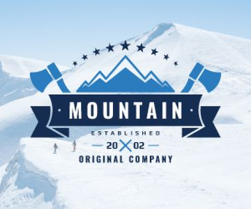 Journey Offer Mountains Icon in Blue | Medium Rectangle Template