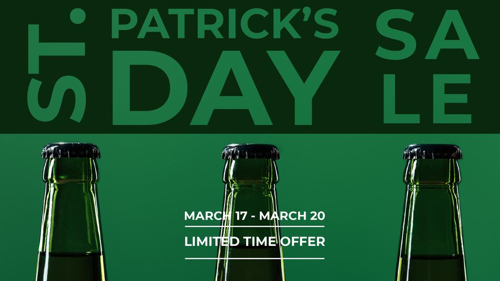 Plantilla de diseño de St.Patricks Day Sale with bottles of Beer FB event cover