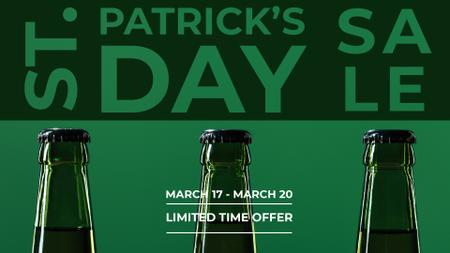 Ontwerpsjabloon van FB event cover van St.Patricks Day Sale with bottles of Beer