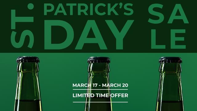 St.Patricks Day Sale with bottles of Beer FB event cover Modelo de Design