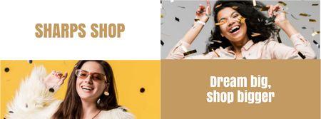Plantilla de diseño de Shop Sale Girl Under Confetti Facebook cover