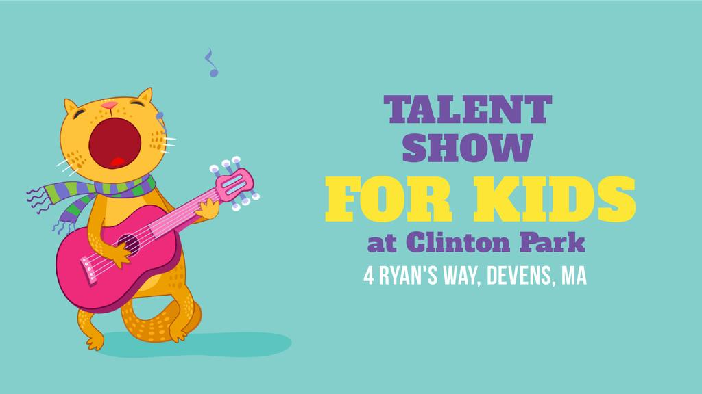 Talent Show Announcement Funny Cat Playing Guitar | Full Hd Video Template — Створити дизайн