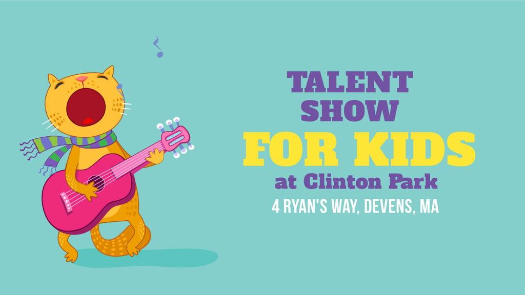 Talent Show Announcement Funny Cat Playing Guitar | Full Hd Video Template — ein Design erstellen