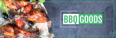 Ontwerpsjabloon van Twitter van BBQ Food Offer Grilled Chicken