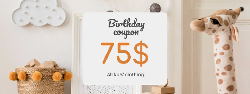 Kids' Clothing Birthday Offer Coupon Design Template