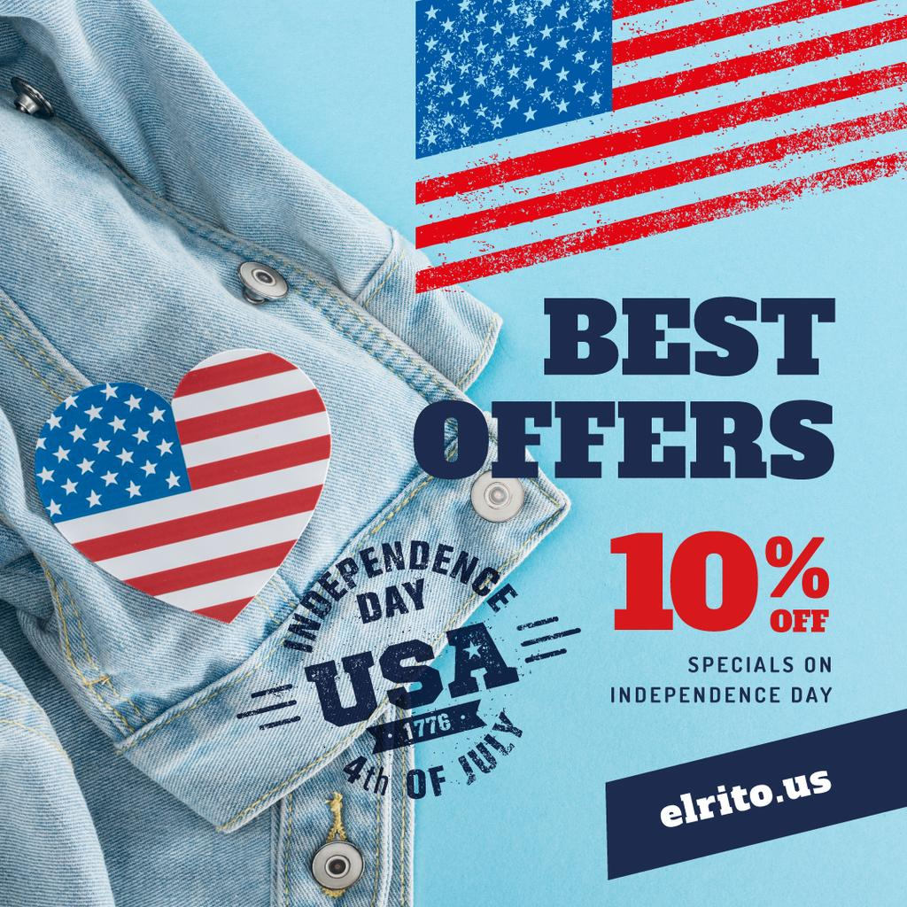 Independence Day Sale Ad with Flag Heart on Denim | Instagram Post Template — Crea un design