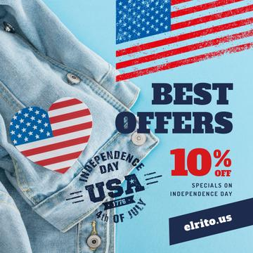 Independence Day Sale Ad with Flag Heart on Denim | Instagram Post Template