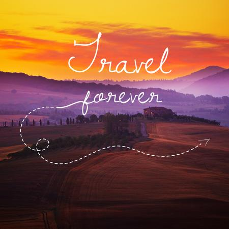 Motivational travel Quote with Sunset Landscape Instagram Tasarım Şablonu
