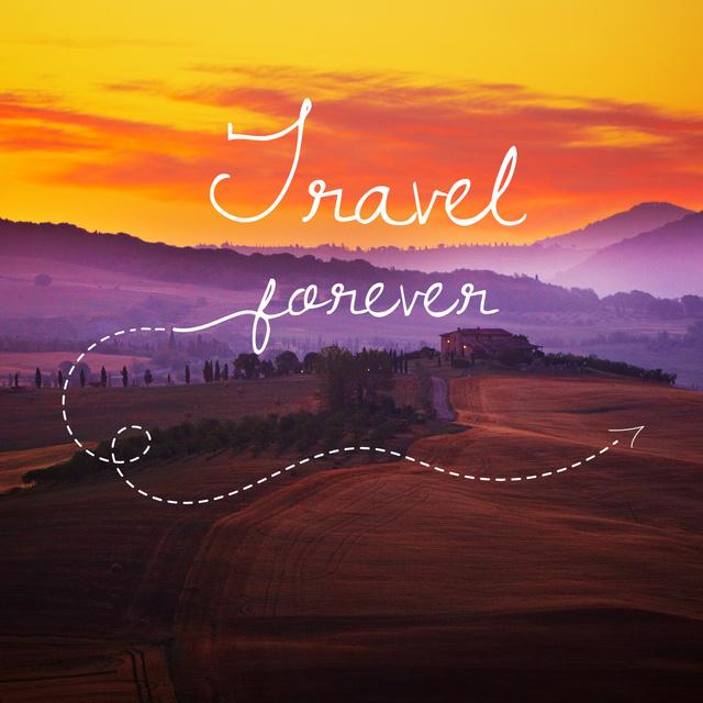 Plantilla de diseño de Motivational travel Quote with Sunset Landscape Instagram
