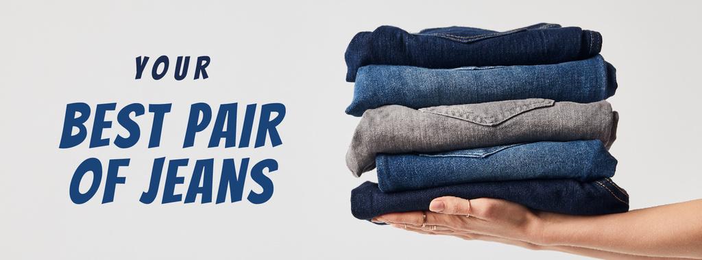 Fashion Sale Blue Jeans Pile — Créer un visuel
