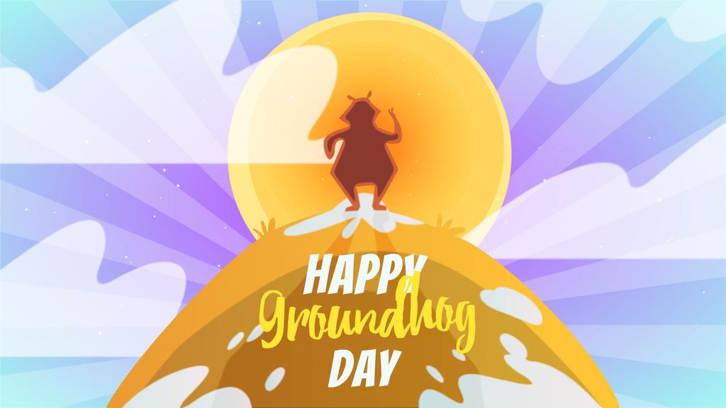 Happy Groundhog Day animal at sunset — Створити дизайн