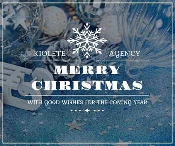 Christmas Greeting Shiny Decorations in Blue | Medium Rectangle Template