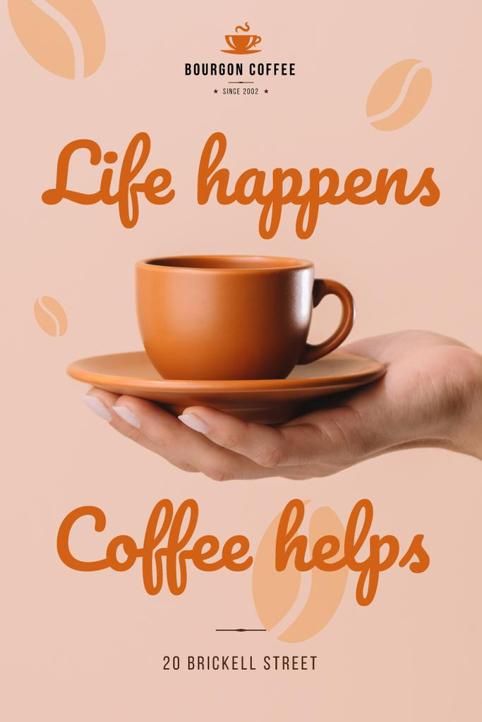Cafe Invitation Hand with Coffee Cup Pinterest Modelo de Design