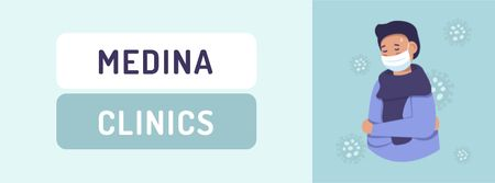 Plantilla de diseño de Clinic ad with Man wearing Mask Facebook cover