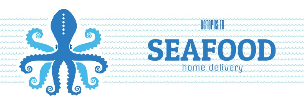 Octopus in Sea Waves Facebook Video Cover in Blue — Create a Design