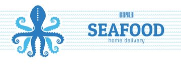 Octopus in Sea Waves Facebook Video Cover in Blue