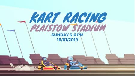 Racing Event Announcement with Karts on Track Full HD videoデザインテンプレート