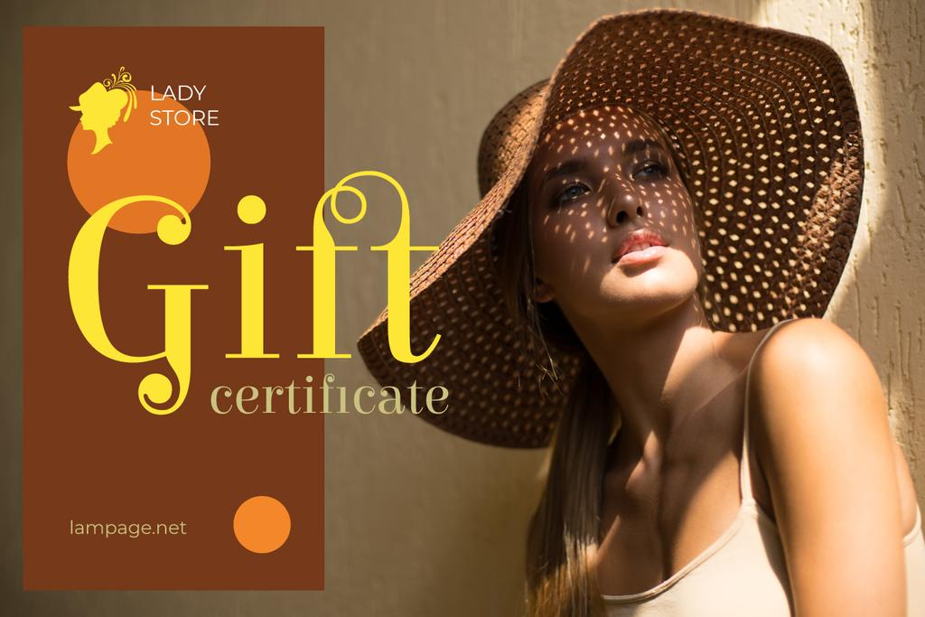 Clothes Store Ad Attractive Woman in Sunhat | Gift Certificate Template — Modelo de projeto