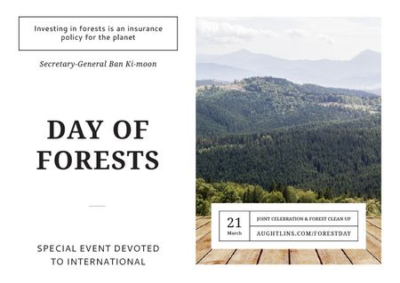Plantilla de diseño de International Day of Forests Event Scenic Mountains Postcard