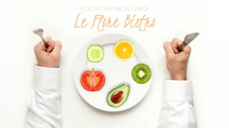 Healthy Business Lunch on Plate Full HD video Tasarım Şablonu