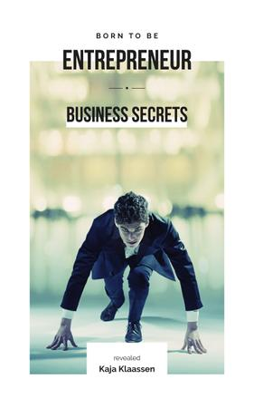 Ontwerpsjabloon van Book Cover van Entrepreneurship Secrets Businessman on Race Start
