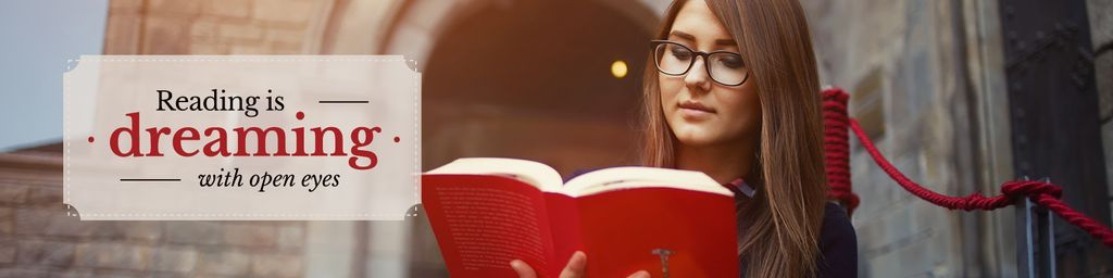 Beautiful young woman reading book with inspirational quote  — Maak een ontwerp