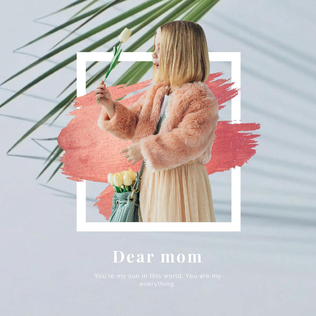 Mother's Day Greeting Girl with Flowers Bouquet — Crear un diseño