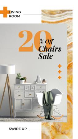 Plantilla de diseño de Chair Sale with Cozy modern interior Instagram Story