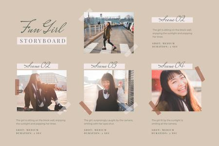 Fun Girl lit by Sunlight Storyboard Design Template