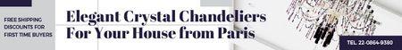 Plantilla de diseño de Elegant Crystal Chandelier Ad in White Leaderboard