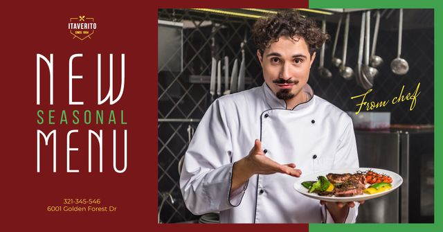 Template di design Menu Special on Plate Presented by Chef Facebook AD