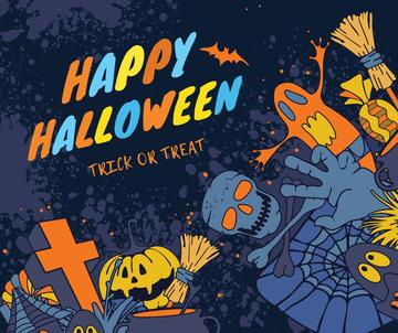 Happy Halloween greeting with monsters