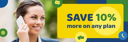 Modèle de visuel Sale Announcement with Woman Talking on Mobile Phone - Email header