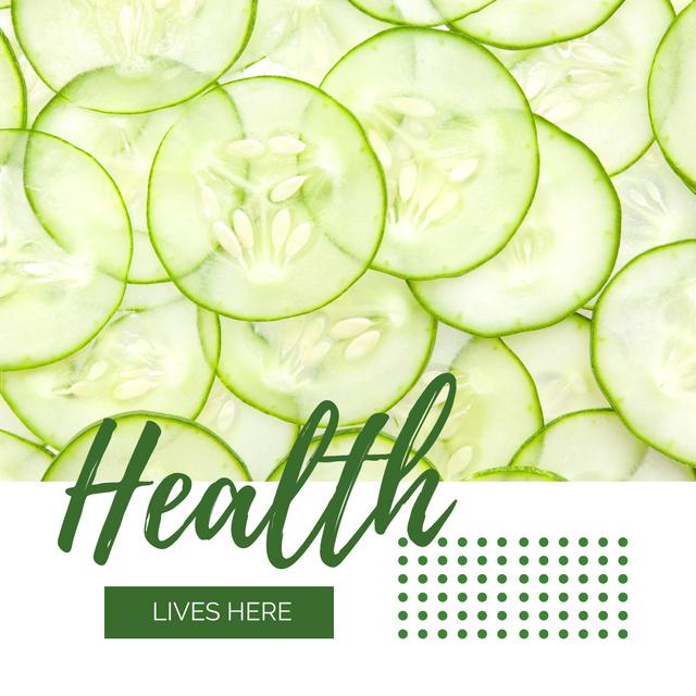 Healthy Food Sliced Green Cucumbers Instagram AD Modelo de Design