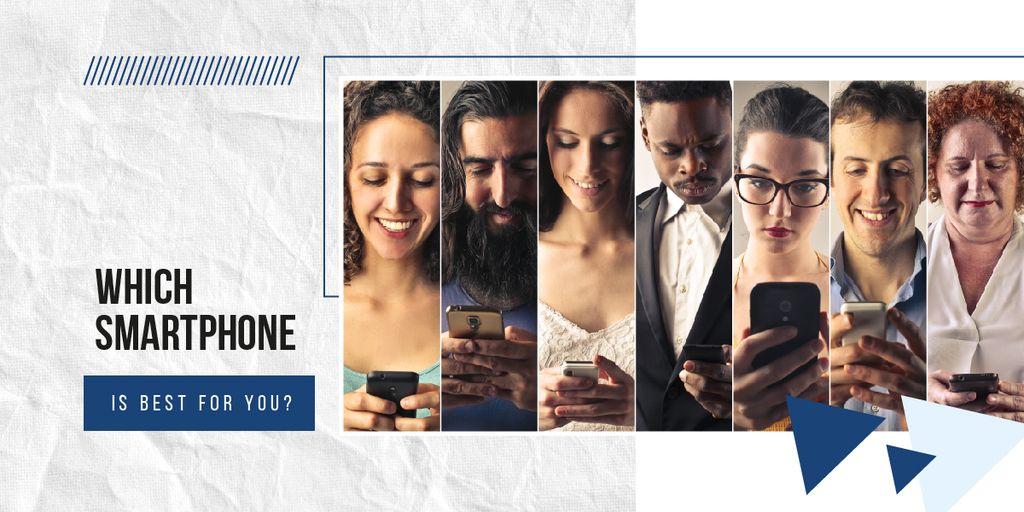 Diverse people using smartphones Image Design Template