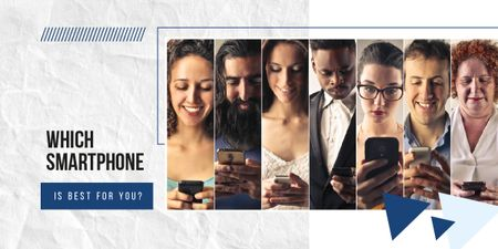 Diverse people using smartphones Image Modelo de Design