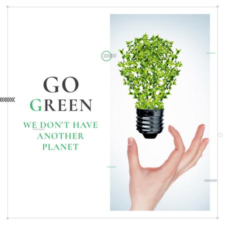 Eco Light Bulb with Leaves Instagram AD – шаблон для дизайна