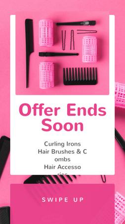 Plantilla de diseño de Hairdressing Tools Sale in Pink Instagram Story