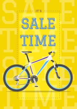 Sale Announcement Modern Blue Bicycle on Yellow | Poster Template