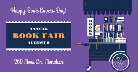 Annual book fair Announcement on Purple Facebook AD Modelo de Design