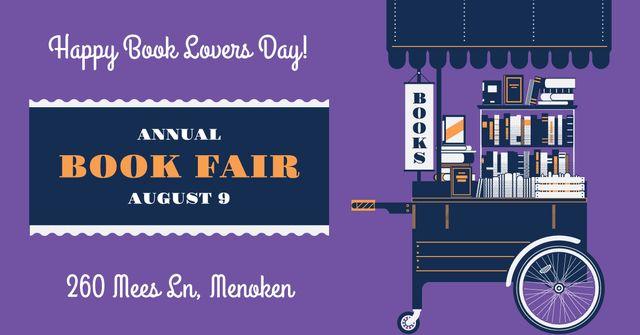 Annual book fair Announcement on Purple Facebook AD Tasarım Şablonu