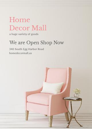 Furniture Store ad with Armchair in pink Invitation Tasarım Şablonu