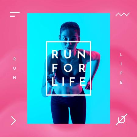 Szablon projektu Running Club Ad with Woman Runner in Neon Light Animated Post