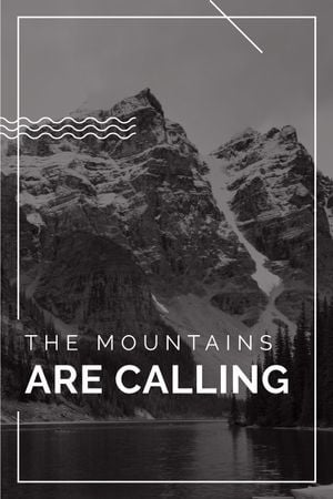 Travel Inspiration Quote with Scenic Mountains Lake Tumblr Modelo de Design