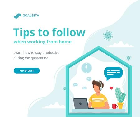 Plantilla de diseño de Quarantine concept with Woman working from Home Facebook