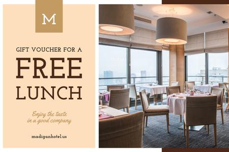 Lunch Offer with Modern Restaurant Interior Gift Certificate Design Template