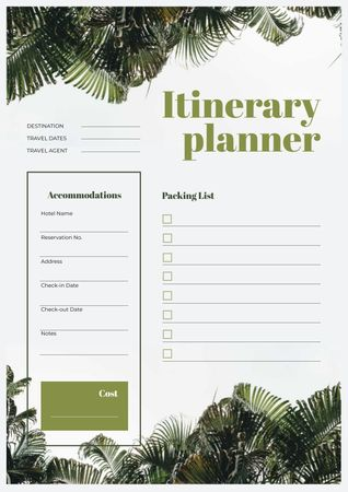 Plantilla de diseño de Itinerary Planner on jungle Leaves Schedule Planner