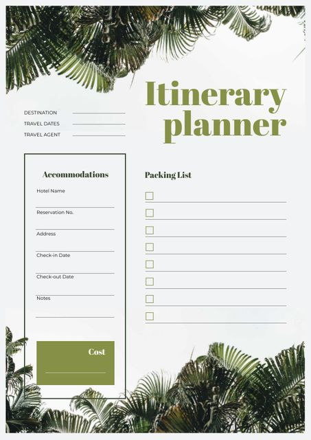 Itinerary Planner on jungle Leaves Schedule Planner Design Template