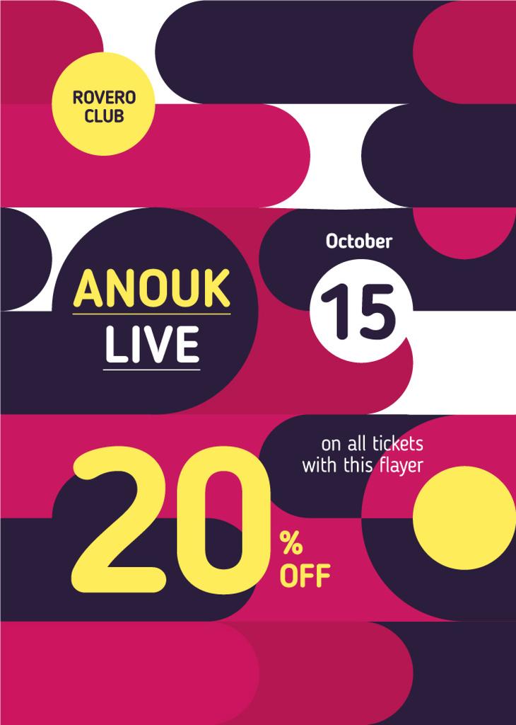 Night Club Invitation Bright Circles Pattern | Flyer Template — Crear un diseño