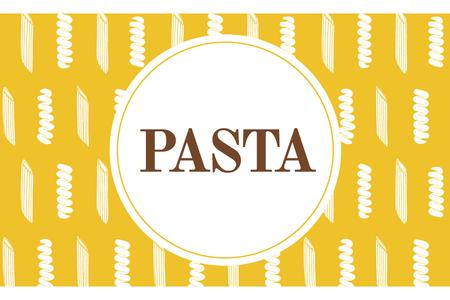 Ontwerpsjabloon van Label van Pasta ad on yellow pattern